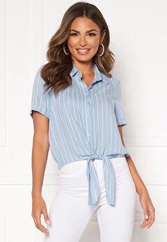 Happy Holly Vilma knot shirt Light blue / Striped Bubbleroom.eu