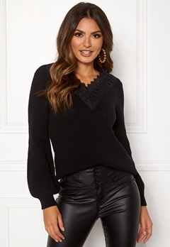 Happy Holly Wendy lace sweater Black Bubbleroom.eu