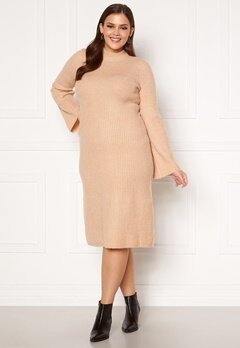 Happy Holly Winnie sweater dress Beige melange Bubbleroom.eu