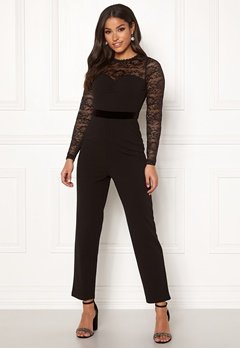 Happy Holly Anna lace tricot jumpsuit Black Bubbleroom.eu