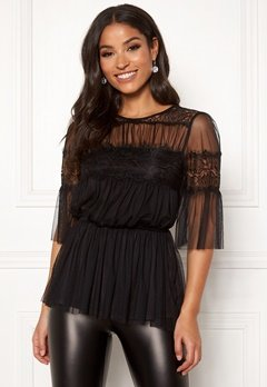Happy Holly Smilla mesh top Black Bubbleroom.eu