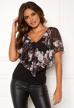 Happy Holly Fanny top Black / Patterned Bubbleroom.eu