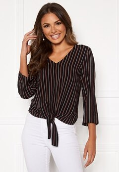 Happy Holly Thea knot blouse Black / Striped Bubbleroom.eu