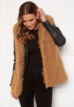Happy Holly Jenny fur vest Camel Bubbleroom.eu