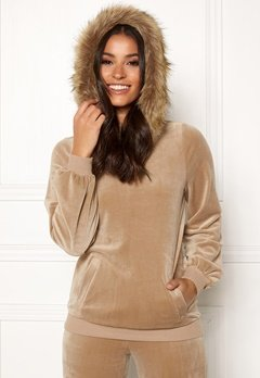 Happy Holly Kaylee short fur hoody Light mole Bubbleroom.eu