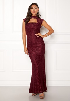 Goddiva High Neck Cut Out Lace Dress Wine Bubbleroom.eu