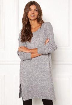 ICHI Amara Long LS Dress Grey Melange Bubbleroom.eu