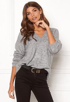 ICHI Amara V LS Sweater Grey Melange Bubbleroom.eu