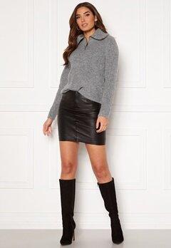 ICHI Darina Leather Skirt Black Bubbleroom.eu