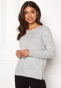 ICHI Hubble LS Knit Grey Melange Bubbleroom.eu