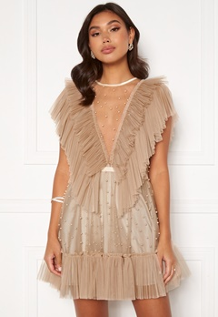 Ida Sjöstedt Nathalie Dress Beaded Tulle Sand Bubbleroom.eu