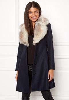 Ida Sjöstedt Tracey Coat Wool Navy/Light Fur Bubbleroom.eu