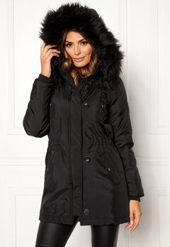 ONLY Iris Fur Parka Black Fur Bubbleroom.eu