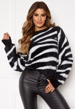 Ivyrevel Relaxed Fuzzy Knit Black/White Zebra Bubbleroom.eu