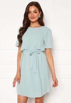 Jacqueline de Yong Amanda S/S Puff Dress Blue Surf AOP Dots Bubbleroom.eu