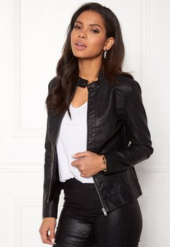 Jacqueline de Yong Dallas Faux Leather Jacket Black Bubbleroom.eu