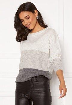 Jacqueline de Yong Elanora L/S Stripe Pullover Dk Grey Melange Bloc Bubbleroom.eu