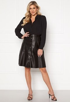 Jacqueline de Yong Hill Button PU Skirt Black Bubbleroom.eu