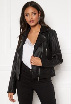 Jacqueline de Yong Ilde Faux Leather jacket Black Bubbleroom.eu