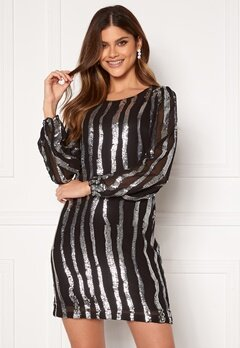 Jacqueline de Yong Justin L/S Sequins Dress Black Silver Sequins Bubbleroom.eu