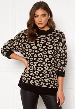 Jacqueline de Yong Leo L/S Pullover Black/Leopard Bubbleroom.eu
