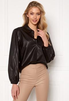 Jacqueline de Yong London L/S Faux Leather Shirt Black Bubbleroom.eu