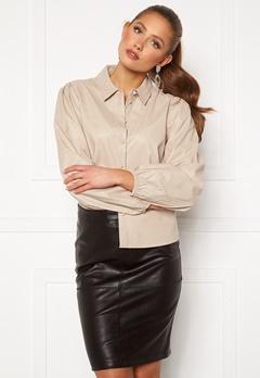 Jacqueline de Yong London L/S Faux Leather Shirt Chateau Gray Bubbleroom.eu