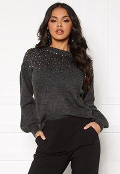 Jacqueline de Yong New Sparkle L/S Pullover Dark Grey Melange Bubbleroom.eu