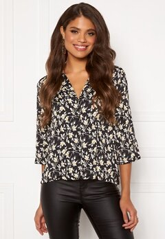 Jacqueline de Yong Rock 3/4 Top Black AOP Flower Bubbleroom.eu