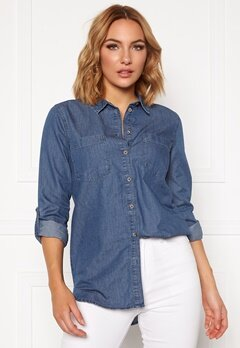 Jacqueline de Yong Roger L/S Long Shirt Medium Blue Denim Bubbleroom.eu