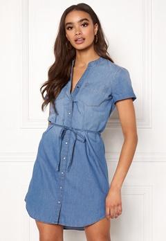 Jacqueline de Yong Shinest S/S Belt Dress Medium Blue Denim Bubbleroom.eu