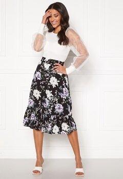 Jacqueline de Yong Starr Life Frill Skirt Black AOP: Rose Bubbleroom.eu
