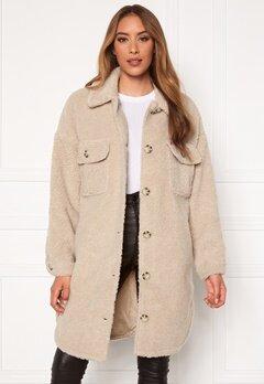Jacqueline de Yong Stella Teddy Shirt Jacket Cement Bubbleroom.eu