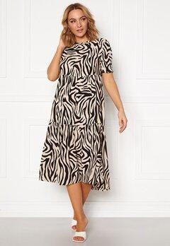 Jacqueline de Yong Tara S/S Midi Dress TapiocaBlack Zebra Bubbleroom.eu