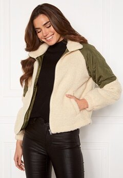 Jacqueline de Yong Zia Teddy Mix Jacket Birch Bubbleroom.eu
