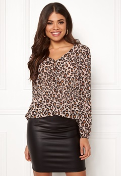 Pieces Jess LS Top Warm Sand / Leopard Bubbleroom.eu