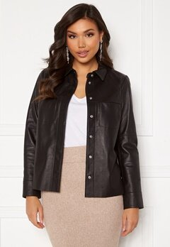 JOFAMA Anne Leather Shirt Jacket Black Bubbleroom.eu