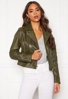 JOFAMA Kajta Leather Jacket Green Bubbleroom.eu