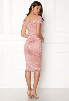 John Zack Bardot Lace Midi Dress Nude Bubbleroom.eu