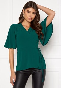 John Zack Flared Sleeve Wrap Blouse Forest Green Bubbleroom.eu