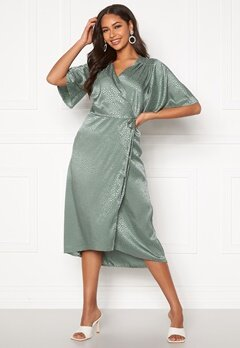 John Zack Flared Sleeve Wrap Dress Sage Green Bubbleroom.eu