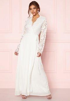John Zack Lace Bodice Wrap Dress Ivory Bubbleroom.eu