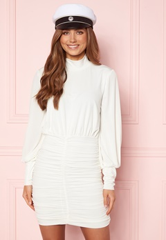 John Zack Long Sleeve Rouched Mini Dress White Bubbleroom.eu