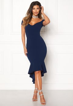 John Zack Off Shoulder High Dress Navy Bubbleroom.eu