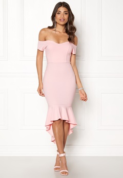 John Zack Off Shoulder High Dress Pink Bubbleroom.eu