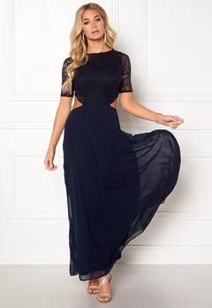 John Zack Open Back Lace Maxi Dress Navy Bubbleroom.eu