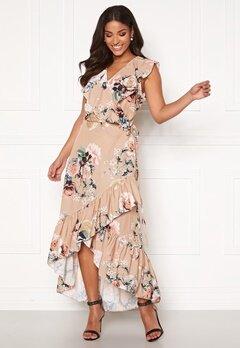 John Zack Ruffle Wrap Midaxi Dress Beige Floral Bubbleroom.eu