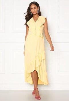 John Zack Ruffle Wrap Midaxi Dress Lemon Bubbleroom.eu