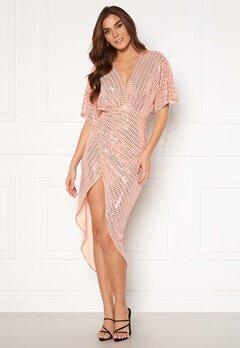 John Zack Sequin Kimono Sleeve Rouch Dress Blush Bubbleroom.eu