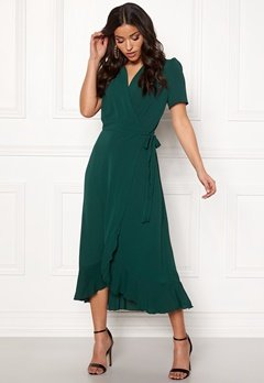 John Zack Short Sleeve Wrap Dress green Bubbleroom.eu